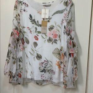 Beautiful silk ivory blouse  pastel floral design